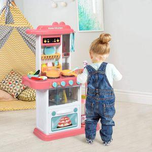COSTWAY Kinderküche mit Spieluhr und Lichtern, Spielküche inkl. 38 STK. Zubehör, Kinderspielküche mit Wasserpumpe, Spielzeugküche für Kleinkinder ab 3 Jahren Rosa