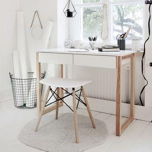 Selsey  – Schreibtisch SKANDINAVIEN in Weiß/Holz skandinavisch mit 2 Schubladen, 100x50 cm