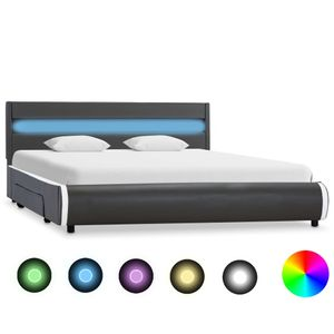 vidaXL Bettgestell mit LED Anthrazit Kunstleder 120 x 200 cm