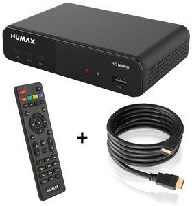 Humax HD Nano Digitaler HD Satellitenreceiver 1080P Digital HDTV Sat-Receiver mit 12V Netzteil Camping - Astra vorinstalliert - HDMI, SCART, DVB-S/S2 + HDMI Kabel