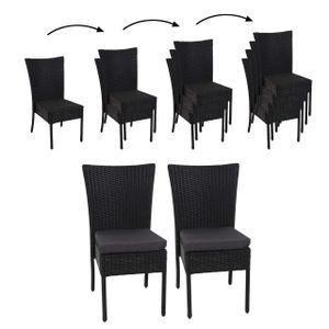 2x Poly-Rattan Stuhl HWC-G19, Balkonstuhl Gartenstuhl, stapelbar  schwarz, Kissen dunkelgrau