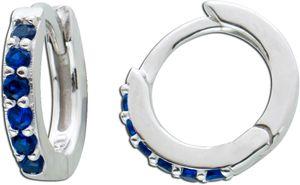 Klappcreolen Kinder Ohrringe Silber 925 Helix Piercing synthetischen Saphire blaue Zirkonia
