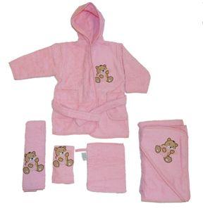 Baby Handtuch Set mit Bademantel Bären Motiv 5-tlg. 100% Baumwolle in versch. Farben, Farbe:rosa