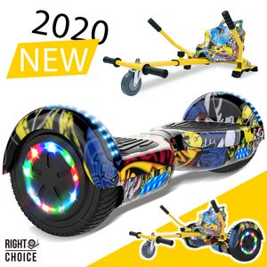Hoverboard mit Hoverkart ,Sitzscooter GO-Kart E-Scooter Board Geschenk für Kinder und Erwachsene ,segway Bluetooth 6.5 Zoll, Elektroroller 700W Motor, Self-Balance Board mit LED-Rädern Flash + Hoverkart