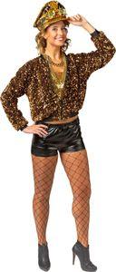 Damen Kostüm Jacke Pailletten gold Blouson-Jacke Karneval Fasching  Gr. 34/36