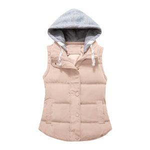 Damenmode Reine Farbe Reißverschluss Baumwolle Weste Weste Kurze Warme Weste Größe:L,Farbe:Weiß