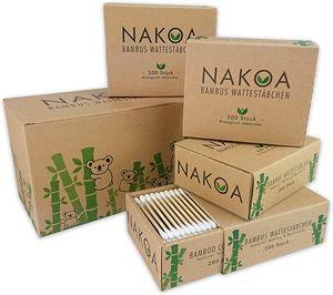 NAKOA Wattestäbchen aus Bambus und Baumwolle, 4er Pack (800 Stück) nachhaltig & umweltfreundlich