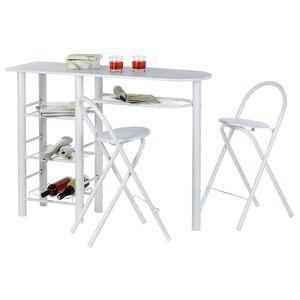 Bartisch STYLE mit 2 Stühlen in weiß