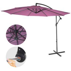 Ampelschirm Acerra, Sonnenschirm Sonnenschutz, Ø 3m neigbar, Polyester/Stahl 11kg  lavendel-rot ohne Ständer