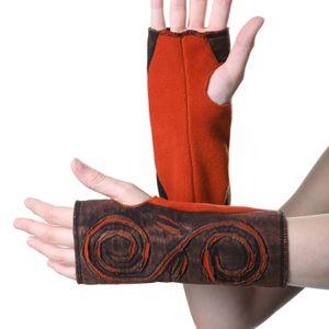 Kunst und Magie Cutwork Fleece Pulswärmer Armstulpen Stulpen Goa Hippie Psy Handwärmer, Farbe:Braun / Orange