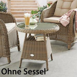 Destiny Kaffeetisch Beistelltisch Key West 60 cm Polyrattan Tisch Esstisch - Ohne Sessel -