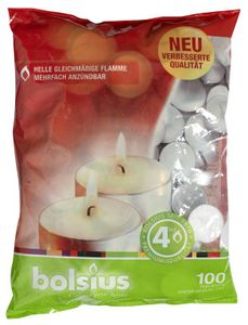 Bolsius Teelichter 100 Stück weiß