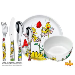 WMF Kinderset 6-teilig Biene Maja, Toddler cutlery set, Weiß, Porzellan, Edelstahl, 3 Jahr(e), 16,5 cm, 18,5 cm