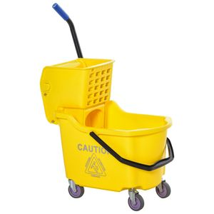 HOMCOM Putzwagen Putzeimer mit großer Kapazität tragbarer Fahreimer mit Roll Wasserschild Henkel Abwasserauslass-Design Seitendruckenwringer PP Kunststoff Metall gelb 60 x 36 x 84 cm