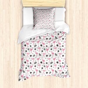 ABAKUHAUS Flamingo Mantele, Aquarell-Kunst Flamingo, Milbensicher Allergiker geeignet mit Kissenbezügen, 135 cm x 200 cm - 80 x 80 cm, Schwarz Pink Cream