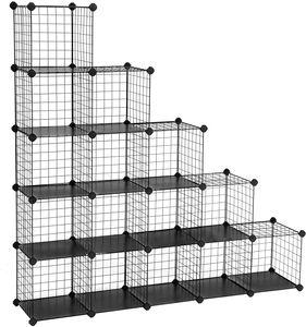 SONGMICS Regalsystem Raumteiler mit 16 Würfel 123 x 31 x 123 cm aus Metalldraht DIY Schrank Steckregal Gitterregal mit Drahtrahmen Schwarz LPI44H
