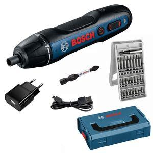 Bosch Professional GO Akku-Schrauber inkl. 25-tlg. Bit Box, L-BOXX Mini, USB Ladegerät