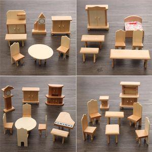29 tlg. Holz Möbelset Kinder Puzzle Puppenmöbel Puppenhaus Puppenstube Zubehör