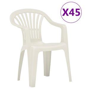 vidaXL Stapelbare Gartenstühle 45 Stk. Kunststoff Weiß