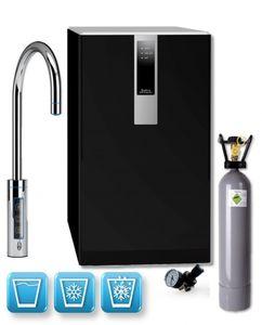 Einbau-Tafelwasseranlage BLACK & WHITE DIAMOND (Option CO2 Eigentumsflasche: 10kg CO2 Flasche / Armatur: C-Auslauf / Farbe: schwarz)
