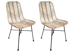 SIT Möbel Rattan-Stuhl 2er-Set | Sitzschale Rattan natur | Gestell Metall antikschwarz | B 44 x T 57 x H 87 cm | 05339-01 | Serie RATTAN