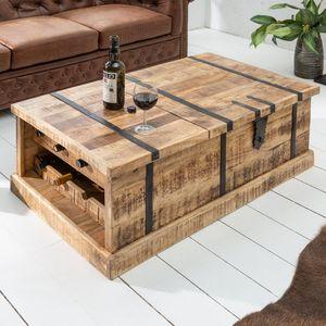 Massivholz Couchtisch BODEGA 100cm Mangoholz Hausbar Truhe Tisch Wohnzimmertisch