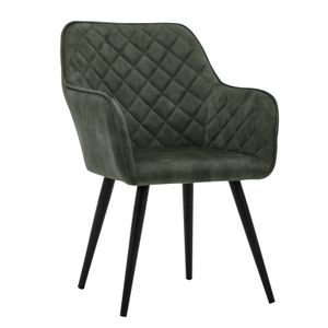 Esszimmerstuhl Polsterstuhl Armstuhl Samt Dunkelgrün Vintage Design Sessel Metallbeine