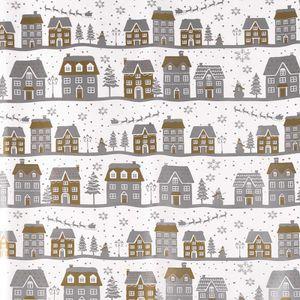 3 Rollen Weihnachts-Geschenkpapier Verpackungspapier Weihnachten Geschenkverpackung Motivwahl, Motiv:weiß   Häuser