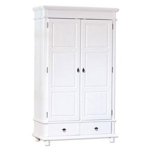 Kleiderschrank Schlafzimmerschrank Schlafzimmer Danz 2 weiß massiv 2 Türen 2 Schubladen