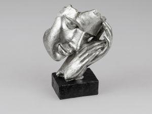 Formano Skulptur Büste Schlaf Objekt Deko Schwarz Sockel Kunststein 720665