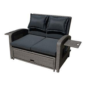 Garden Pleasure Funktionssofa NIZZA Stahl / Kunststoffgeflecht / dunkelgrau 970373