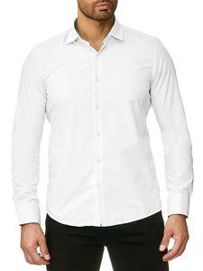 Reslad Herren Hemd Kentkragen Unicolor Langarmhemd RS-7002 Weiß XL