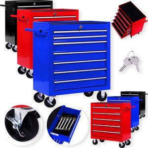 Masko® Werkstattwagen Rollwagen Werkzeugwagen Werkzeugkiste Fächer Toolbox Werkzeug box, Variante:5 Fächer Schwarz