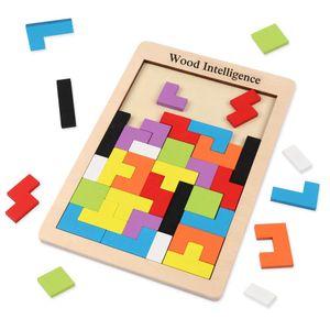 Tetris Tangram Holzpuzzles Didaktisches Lernspielzeug 40 Pcs Intelligenz Pädagigisches Spielzeug für Kinder ab 3 Jahre