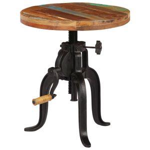 Beistelltisch Ablagetische Konsolentisch Kaffeetisch 45x(45-62) cm Recyceltes Massivholz und Gusseisen