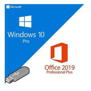 Windows 10 Professional + Microsoft Office 2019 Professional Plus - Originale Lizenzen inkl Badge Art® USB-Sticks als Bundle-Angebot