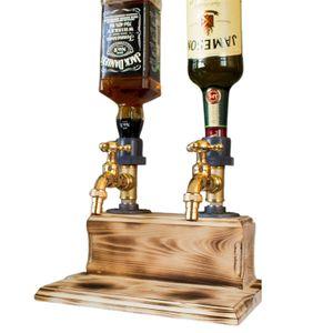 Vatertagsbierspender,Schnapsalkohol Whisky Holzspender,Wasserhahnform Getränkespender mit Wasserhahn für Party Bars(Doppelt)