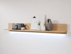 Wandboard Senta 14 Eiche bianco teilmassiv 179x25x25cm Wandregal Regal, Beleuchtung:mit Beleuchtung