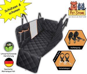 Autoschondecke Hund Katze Schutzdecke Auto Rücksitz Kofferraum Hundedecke Hundeschutzdecke Rückbank Wasserdicht Teilbar Schondecke inkl. 2 Sicherheitsgurte Sichtfenster Seitenschutz & Taschen