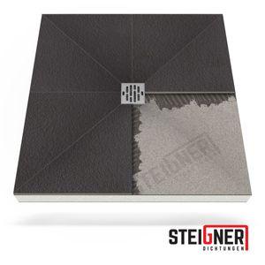Duschelement MINERAL BASIC Duschboard befliesbar 90x90 cm Ablauf WAAGERECHT -- EPS Bodenelement ebenerdig barrierefreie Duschwanne bodengleich