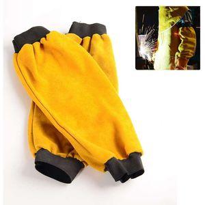 Mllaid Schweißerschutzhüllen Leder Schweißerzubehör Leder hitzebeständige Schweißerschutzhüllen mit elastischer Manschette, Einheitsgröße,