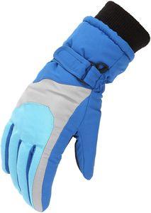 Kinder Skihandschuhe wasserdichte und Winddichte Schneehandschuhe Warme Handschuhe Winterhandschuhe für 6-11 Jahre Jungen Mädchen Skifahren Wandern Radfahren-Blau
