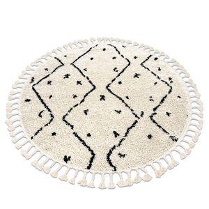 Teppich BERBER TETUAN B751 Kreis Zickzack sahne Franse berber marokkanisch shaggy creme Kreis 120 cm