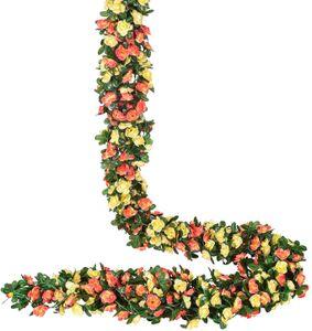 4 Stücke Künstliche Rosen Girlande, 270cm Unechte Rosenranke Blumengirlande mit grünen Blättern für Hochzeit, Party, Garten Dekoration, Champagnerfarben