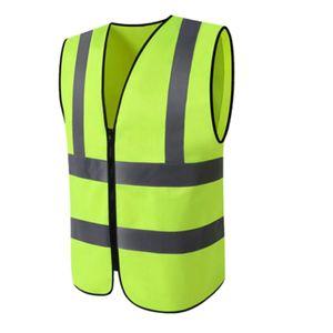 Warnweste mit Reißverschluss und Reflexstreifen, fluoreszierend gelb Weste Kostenlos Sicherheitskleidung Fluoreszierendes Gelb