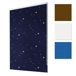 ECD Germany Verdunkelungsrollo 120 x 150 cm - Blau mit Sternen - Klemmfix - ohne Bohren - für Sonnen- und Sichtschutz - inkl. Befestigungsmaterial - EasyFix Rollo Klemmrollo