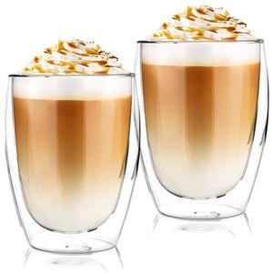Latte Macchiato Thermogläser Set 2 x 350 ml | Set mit Schwebe-Effekt, auch für Tee, Eistee, Säfte, Wasser, Cola, Cocktails aus Borosilikatglas