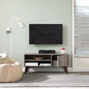 VASAGLE Retro Lowboard TV-Regal für Fernseher bis zu 43 Zoll Fernsehtisch Fernsehschrank Retro-Möbel greige LTV009M01
