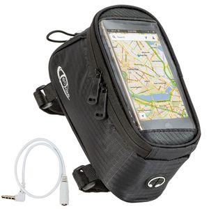 tectake Fahrradtasche mit Rahmen-Befestigung für Smartphones - schwarz, 20,5 x 10 x 10,5 cm