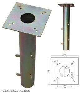 PROKIRA® Universal Metall Bodenhülse, Bodenanker für Sonnenschirm, Wäschespinnen, Gartenschirm / 16 x 16 cm / ebenerdiger Einbau